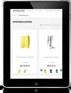 FLYERALARM sports - Tablet Ansicht
