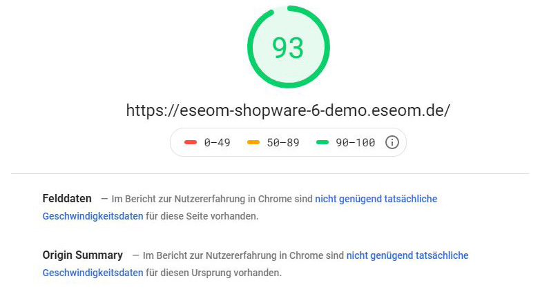Shopware 6 EseomTheme - Desktop PageSpeed