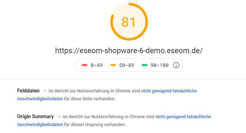 Shopware 6 EseomTheme - Mobile PageSpeed